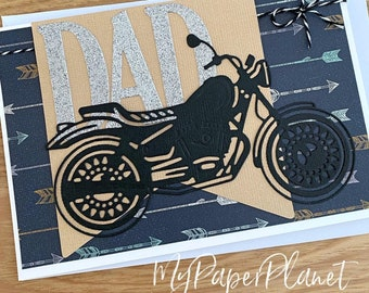 DAD Motorcyle card. Motorbike, fathers day, birthday card.