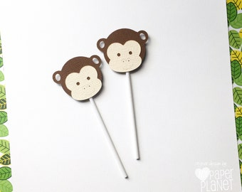 Little Monkey Cupcake Toppers - Brown and Cream. Baby shower, birthday party favors, treats, safari, jungle theme. Cupcake pick.