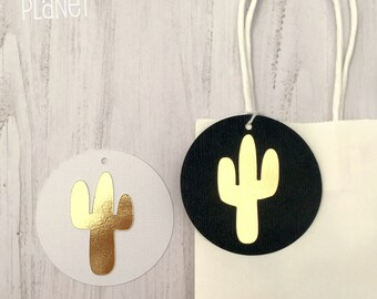 Gold Cactus Gift Tags. Black or White. Favor tags. Swing Tags. Wild one, tribal, boho, baby shower, birthday party.