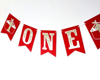 Circus ONE Banner. Red, white and gold glitter first birthday party banner. Carnival, big top party, photo prop. I am One, bunting, garland.