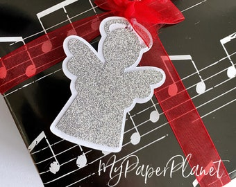 Christmas Angel gift tags. Silver glitter and white. Gift wrapping, Xmas gifts.