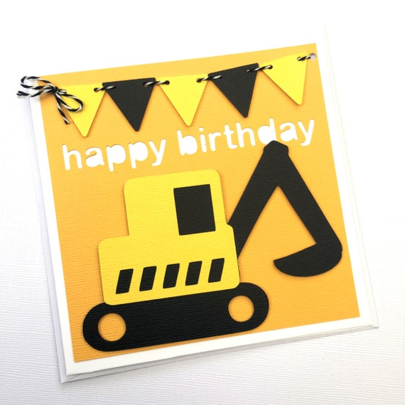Little Construction Digger Birthday Card Happy Birthday Etsy