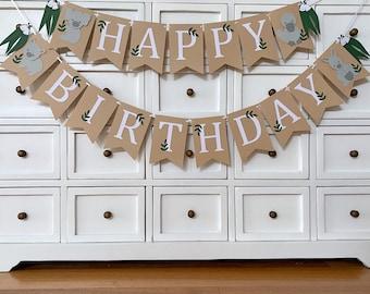 Australian Animal Happy Birthday Banner. Koala, Kangaroo, Wombat, Platypus. First Birthday, Cake smash bunting, Photo prop.