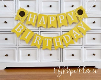 Sunflower Happy Birthday party banner.  Flower, floral bunting. Add Custom name, personalised decor.