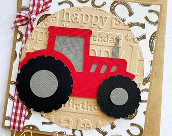 Tractor Birthday card, red or green. Age birthday. Farm, cowboy, kids party.