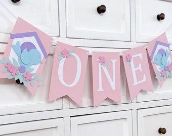 Little Birdies Banner ONE. Pastel birds. First birthday, Happy Birthday, party bunting, Photo prop.