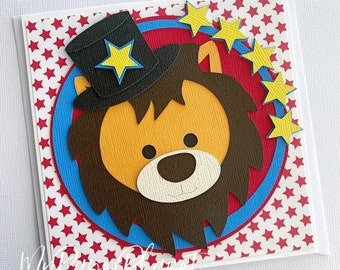 Circus Lion or Monkey card. Carnival, Zoo First birthday, blank greeting card.