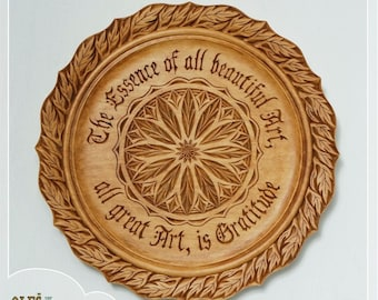 Antiqued hand carved plate - wooden decorative centerpiece with Nietzsche's quote about art,  5th wooden anniversary, gift for wife, wedding