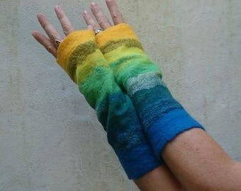 SALE Felted blue/yellow rainbow arm warmers/cuffs/wrist warmers/gloves festival/winter/warm