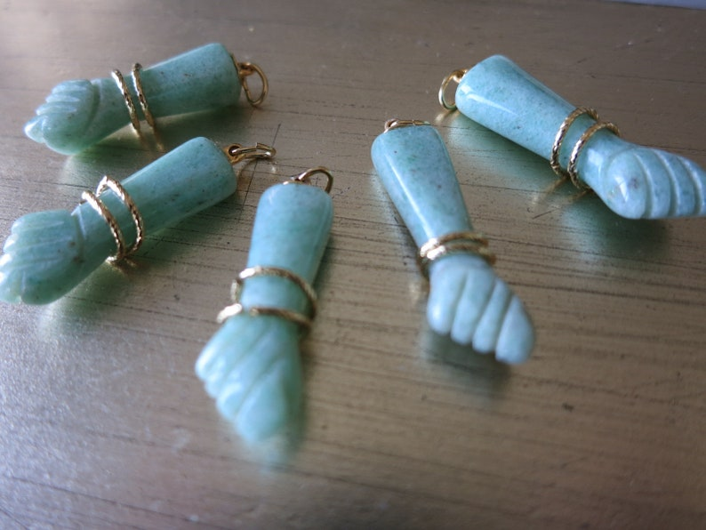 Figa AMAZONITE Agate Charm Pendent  Protection Hand Carved Amulet NEW DESIGN!!