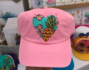 699df74373a pineapple plumeria tropical hawaiian print handpainted dad hat