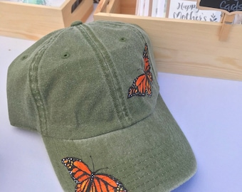 eb42c5a953f3d5 Hand painted monarch butterfly dad hat