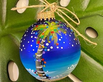 Handpainted beach palm tree sandy christmas ornament