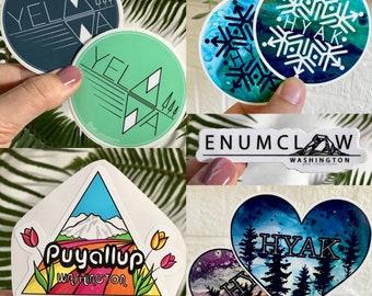 "3"" Vinyl stickers yelm mount rainier mountain lake puyallup Enumclaw hyak snoqualmie pass washington cities Pacific Northwest"