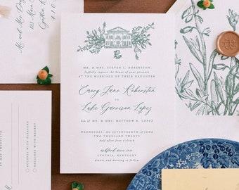 PRINTED Custom Venue Wedding Invitation, Longest Time Design, Classic Wedding Invitation, Venue Illustration, Vintage Wedding, Heirloom