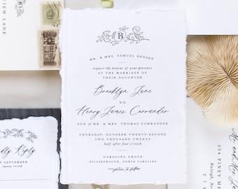 PRINTED Couple's Monogram Wedding Invitation, Semi-Custom Wedding Invitation, Longest Time Design, Classic Wedding Invitation, Heirloom
