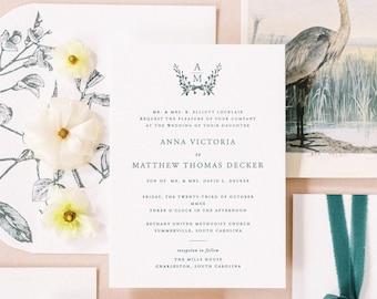 PRINTED Monogram Invitation, Semi-Custom Wedding Invitation, Longest Time Design, Classic Wedding Invitation, Color of the year, Couple Seal