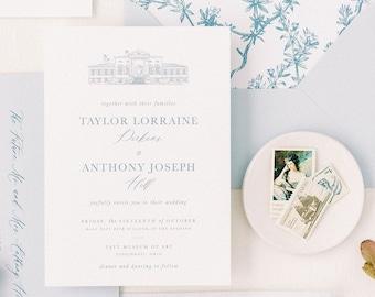 PRINTED Custom Venue Wedding Invitation, Longest Time Design, Classic Wedding Invitation, Venue Illustration, Venue Invitation