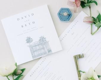 Printed Wedding Program, Folded Wedding Program, Modern Program, Classic, Linen, Venue Illustration, Longest Time Design, Wedding Invitation