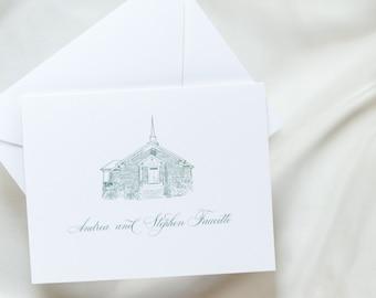 Personalized Stationery, Monogram Crest  Notecard, Longest Time Design, Graduation, Monogram Gift, Thank You Card, Vintage Floral