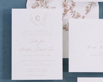 PRINTED Terracotta Floral Invitation, Semi-Custom Wedding Invitation, Longest Time Design, Classic Wedding Invitation, Couple Monogram Crest