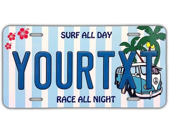 d633942d2bb Customizable License Plate 12in x 6in Embossed - Surf Bus Blue