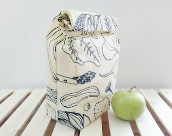 Beeswax Canvas Lunch Bag, Zero Waste Waxed Canvas Lunch Bag, Reusable Bag for Food Storage, Gift for Her