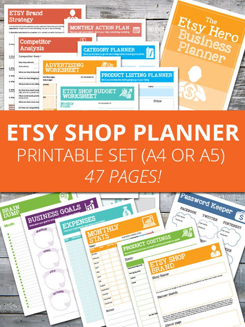 image about Etsy Printables named Etsy Retailer Planner, Organizer and Worksheets - Etsy Hero Store Printables, Instantaneous obtain