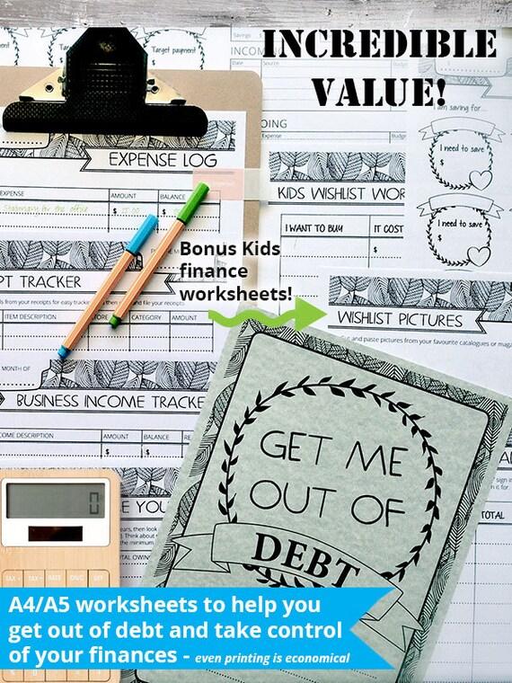 A4/A5 bekommen mich aus Schulden Kit Finanzen und Haushalt   Etsy