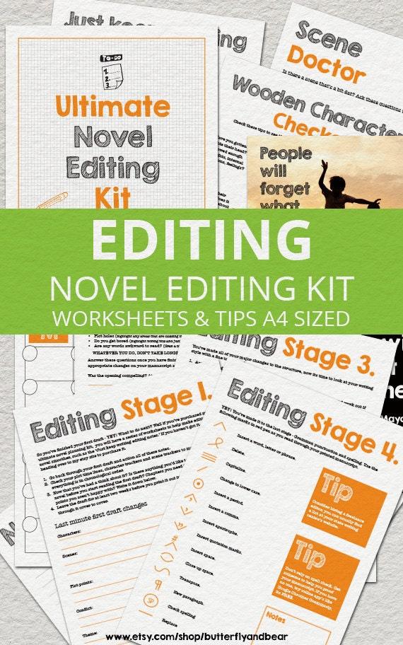 Ultimate Novel Editing Kit Printable Worksheets Tips & Etsy