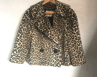 4ee050c7002c Vintage 1950s Faux Leopard Fur Coat By Kilimanjaro Sidney Blumenthal. Size  Small to Medium