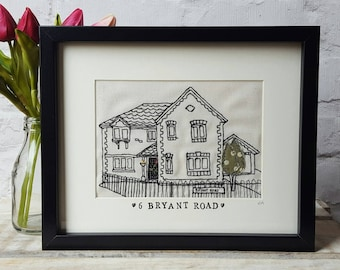 Framed Bespoke Custom Stitched Freehand Machine Embroidered House or venue Portrait | new home | anniversary | wedding