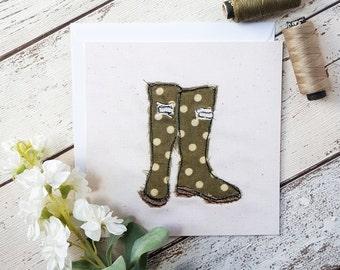Polka Dot Wellington Boots Square Printed Greetings Card