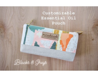 Customizable Essential Oil Pouch/ Blacks and Greys
