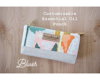Customizable Essential Oil Pouch / Blues