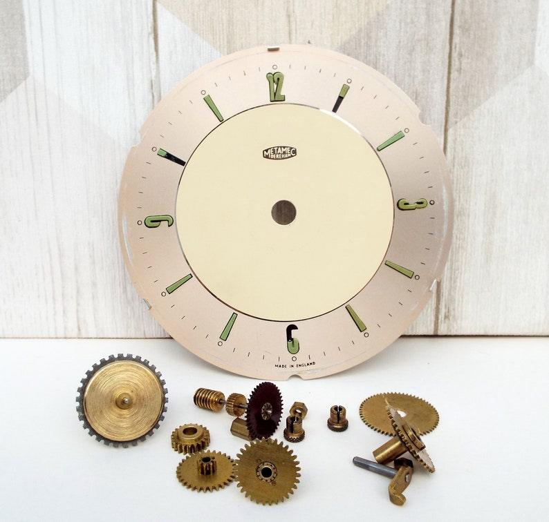 Clock Parts and Face, Metamec, Retro Dial, Clockwork Pieces, Spare Fittings  for Wind Up Clock, Skeleton Clock Parts - 16 pieces