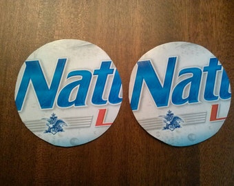 Nattie Light upcycled coasters, large pair, Natural Light