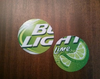 Bud Light Lime upcycled coasters, large pair