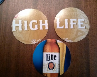 Miller High Life -- Miller Lite upcycled coasters, large pairs