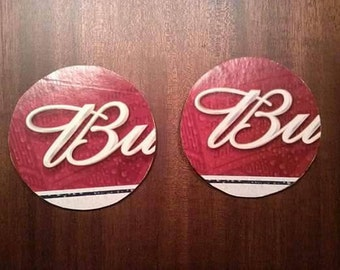 "Red Budweiser ""B"" upcycled coasters, large pair"
