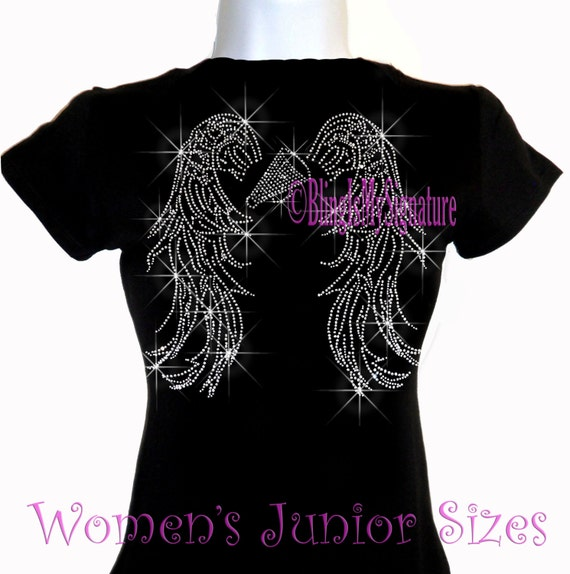8cec41fb93e20 Angel Wings - CHEER - On back Iron on Rhinestone T-Shirt - Bling Hot Fix  Sports MOM Transfer Shirt Top