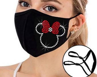 Rhinestone Bling Face Mask - Rhinestone Design Face Mask Adjustable Strap Nose Wire with Filter Pocket - Breathable Washable 3 Layers Mask