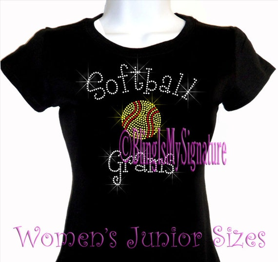 Pink Softball Women/'s Crew Neck T-Shirts Plus Size Unisex Bling Cotton Sports