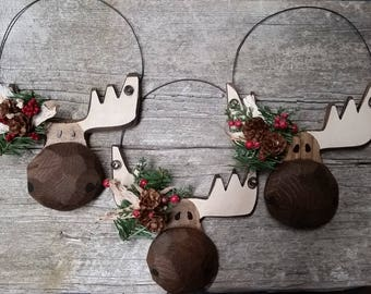 Moose, Wood, Hand Carved Ornament for everyday or Christmas, Cabin decor
