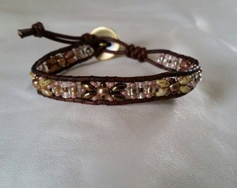 Aged Mauve and Cream, Gold, High Lustre Browns, Greek Leather Wrap Bracelet