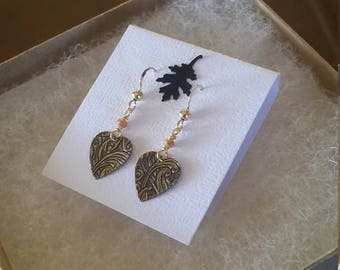 Antiqued Gold Tapestry Heart charm with gold Crystals.  14ct. Gold filled earwires