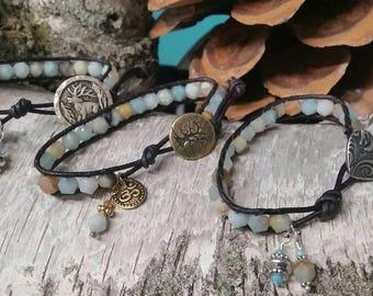 Amazonite, Star Round Cut, Semiprecious Stones, Sewn into a Single Leather wrap Bracelet