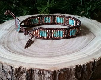 Native American, Copper Patina Indian Head, Leather Wrap Bracelet, Aged Turquoise glass beeds, Copper seed beads.