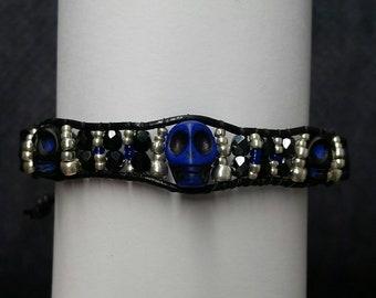 Chrissie's Special Order, Cobalt Blue and Black Scull Bracelet