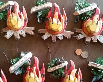Bonfire Ornament for the holidays or everyday!  Best Times with friends!  Pleace one over a bottle of wine for a gift! Wood, Hand made.